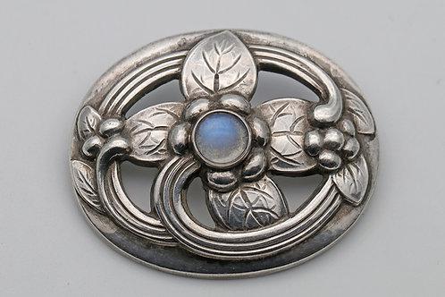 Georg Jensen silver brooch with moonstone