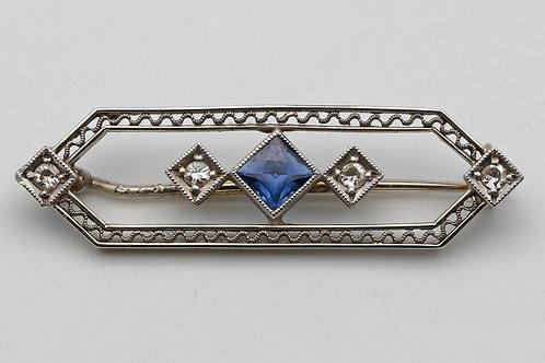Art Deco sapphire, gold and platinum brooch