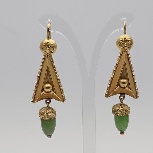 Late 19th century nephrite acorn drop earrings
