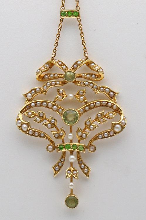 Edwardian peridot, demantoid garnet and seed pearl pendant