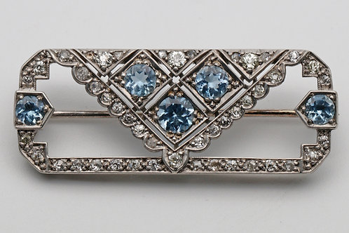 Art Deco silver and gold, aquamarine and diamond geometric brooch