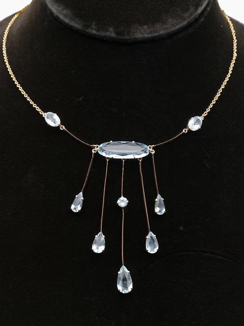 Late 19th century 9ct gold aquamarine fringe necklace
