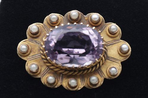 Edwardian gold amethyst and pearl brooch