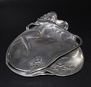 Jugendstil relief-moulded pewter dish by WMF, model 232