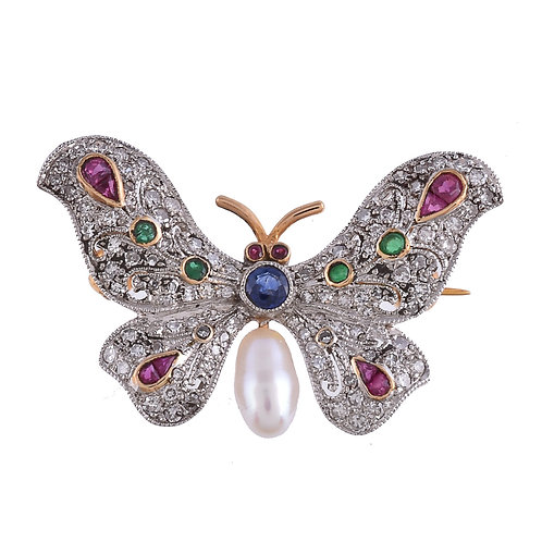 Gemset butterfly gold brooch