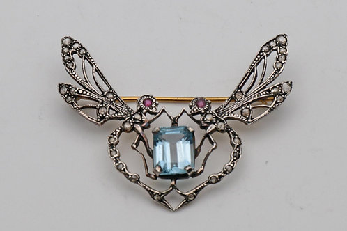 Diamond, Aquamarine and Ruby Brooch