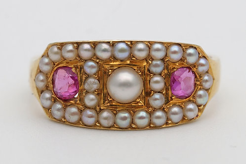 Victorian dress ring with rubies and pearls, 18ct gold