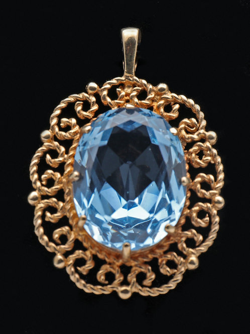 Vintage Topaz and 9ct Gold Pendant