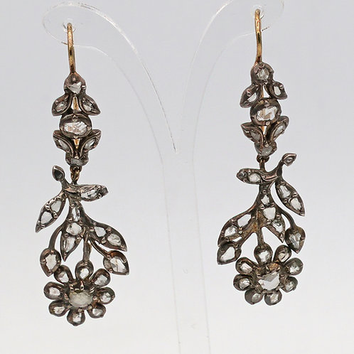 Early Victorian diamond earrings in gold and silver