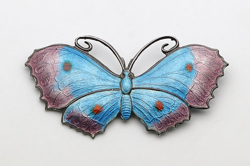 Silver and enamel butterfly brooch in shades of silver and purple