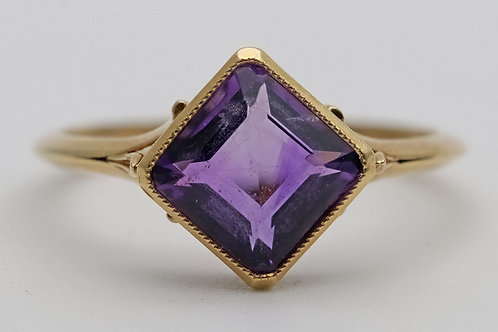 Early 20th century amethyst single-stone gold ring