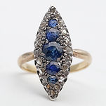 Art Decodiamond and sapphire ring