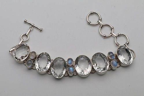 Vintage moonstone and rock crystal bracelet