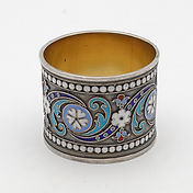 Antiqueenamelled silver napkin ring withRussian zolotnik 84 mark