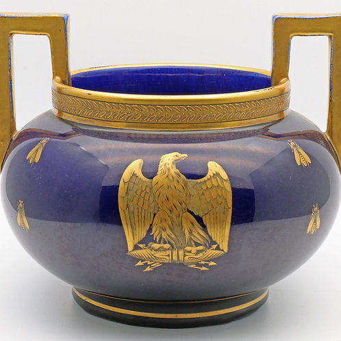 French bowl in cobalt blue and gold
