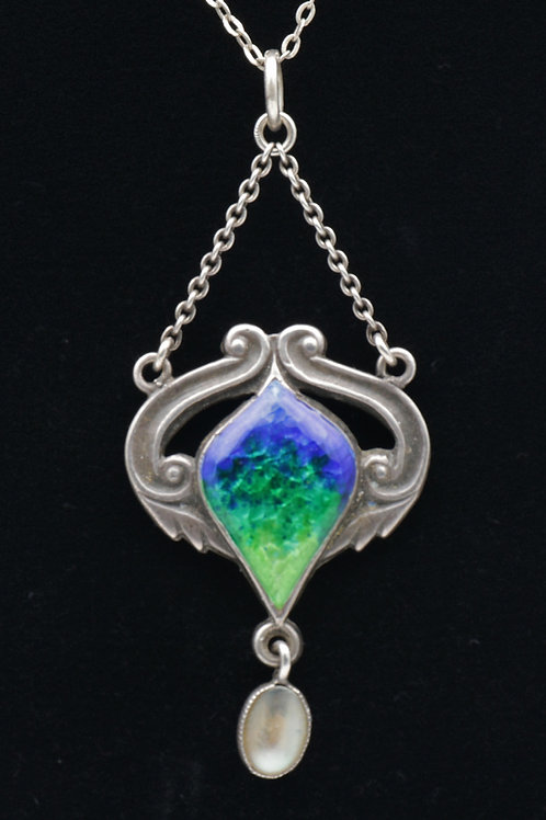 Art Nouveau Silver and Enamel pendant, Queensway Liberty's