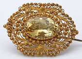 143107 Citrine cannetille work brooch  1
