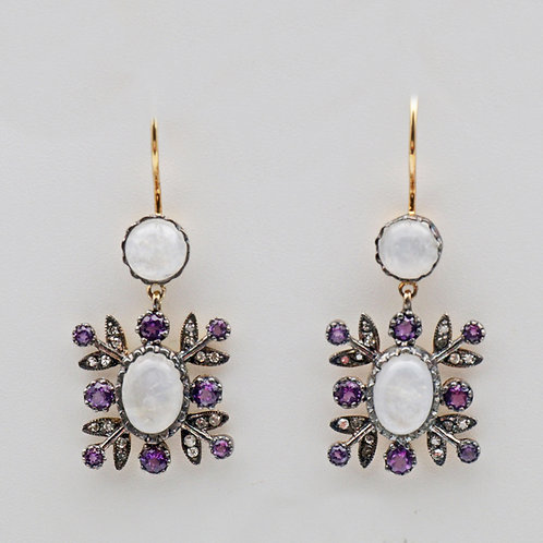 Amethyst, diamond and labradorite earrings