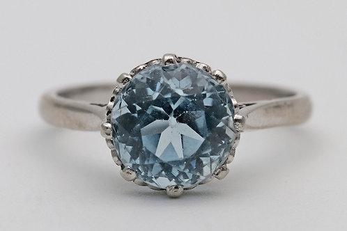 1950s aquamarine solitaire ring in platinum