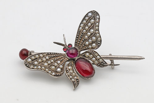 Antique silver garnet and pearl butterfly brooch