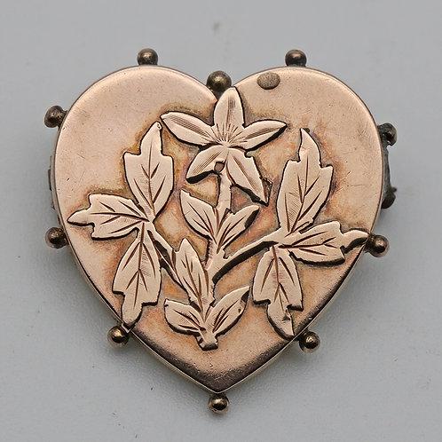 Adie & Lovekin Victorian gold heart brooch