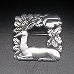 Silver deer and squirrel brooch by Arno Malinowski, design no 318 c.1933