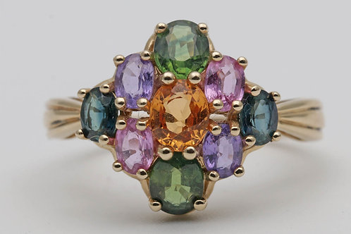 Vari-hue sapphire cluster gold ring