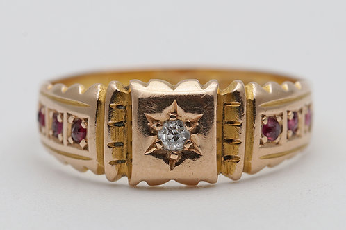 Victorian 15ct gold ring with a diamond and rubies