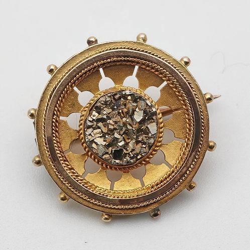 Edwardian circular gold brooch