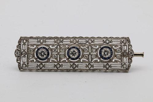 Art deco gold diamond and sapphire brooch
