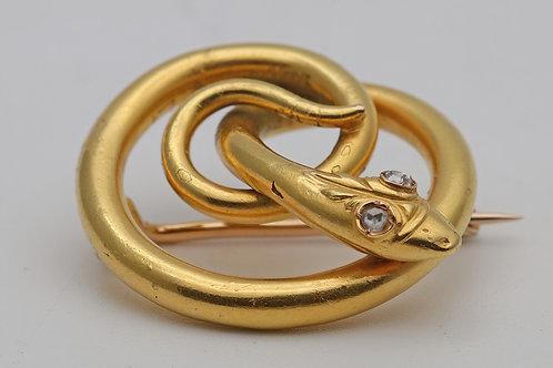 Victorian gold snake brooch