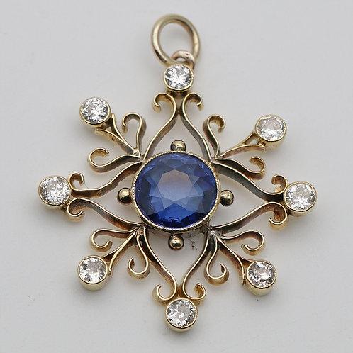 Edwardian gold, sapphire and diamond pendant