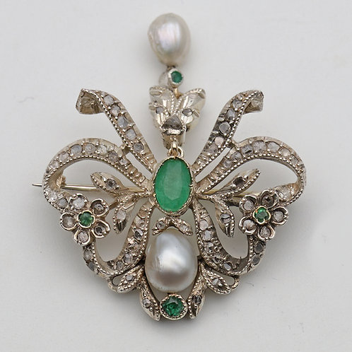 Belle Époque gold brooch set with pearls, emeralds and diamonds