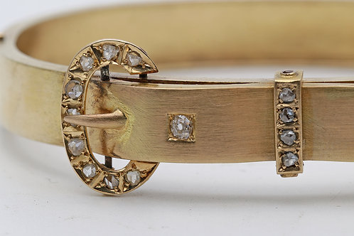 Late Victorian gold and diamond bangle