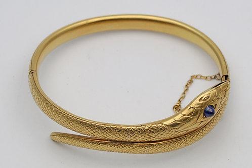 19th century 18ct gold snake bangle