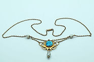 Murrle Bennett turquoise, pearl gold necklace