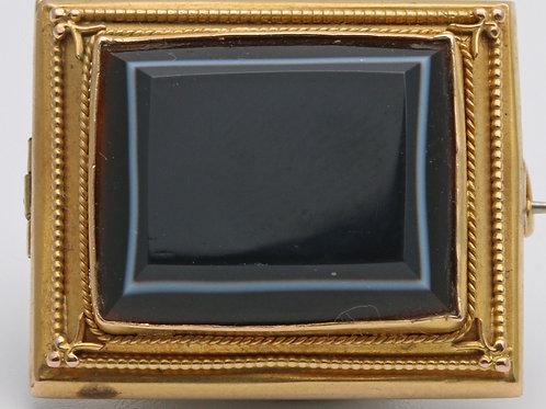 Georgian gold banded agate brooch
