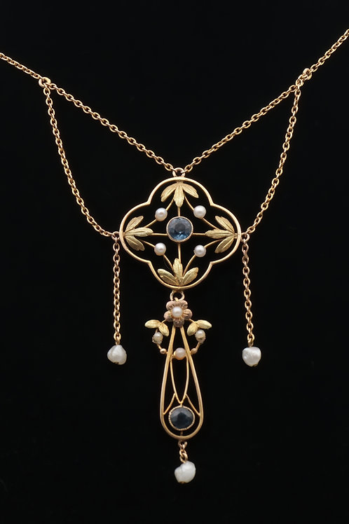 Belle epoque gold and sapphire pendant
