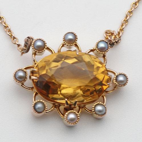 Edwardian gold and citrine pendant