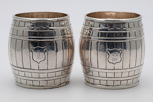 Edwardian sterling silver novelty whisky cups