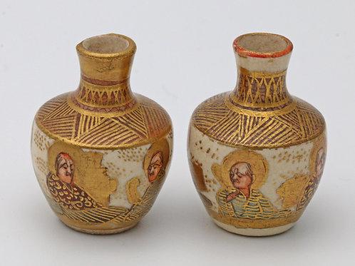 Pair of miniature Japanese Satsuma vases