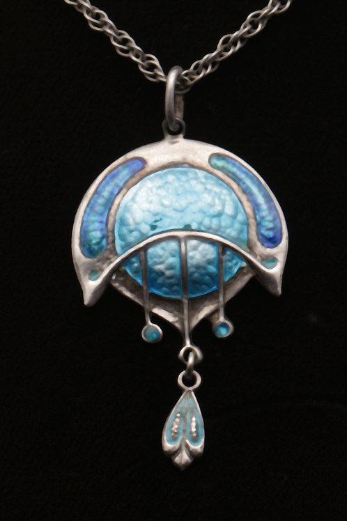 Art Nouveau silver/enamel James Fenton pendant