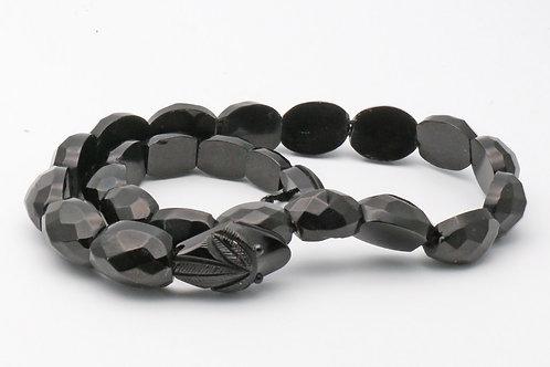Victorian Whitby Jet coiled snake bracelet