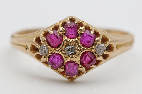 Early 20th century gold dress ring with diamonds and rubies