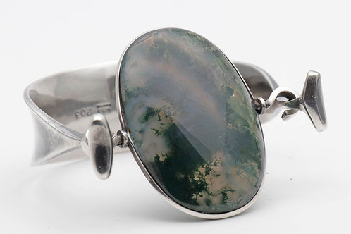 Georg Jensen (Torun) silver cuff with moss agate