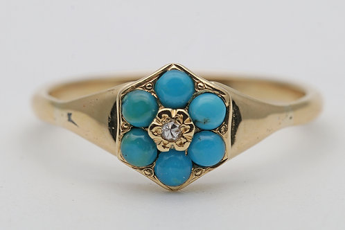 18ct gold turquoise and diamond cluster ring