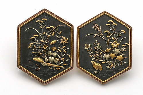 Late 19th century Japanese shakudo buttons