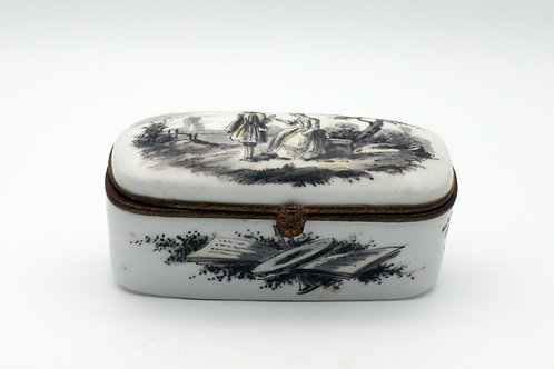 French Faience box signed Sceaux