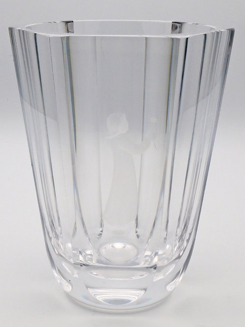 Orrefors crystal vase with etched young girl