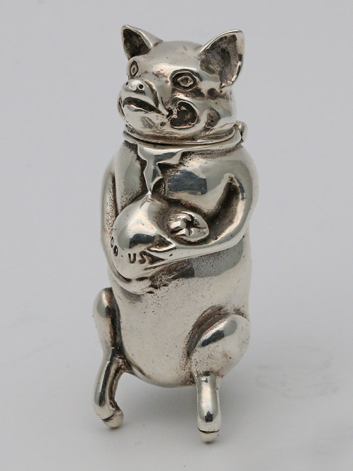 Sterling silver pig with swag bag vesta case